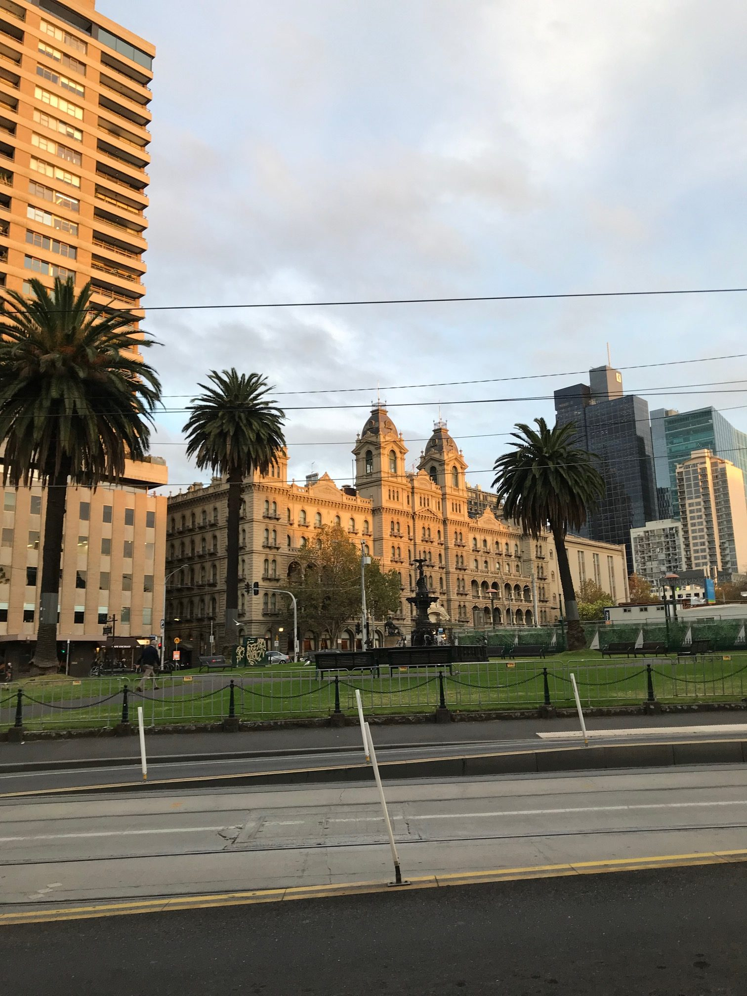 Gordon Reserve East Melbourne with the iconic Hotel Windsor in the background.
