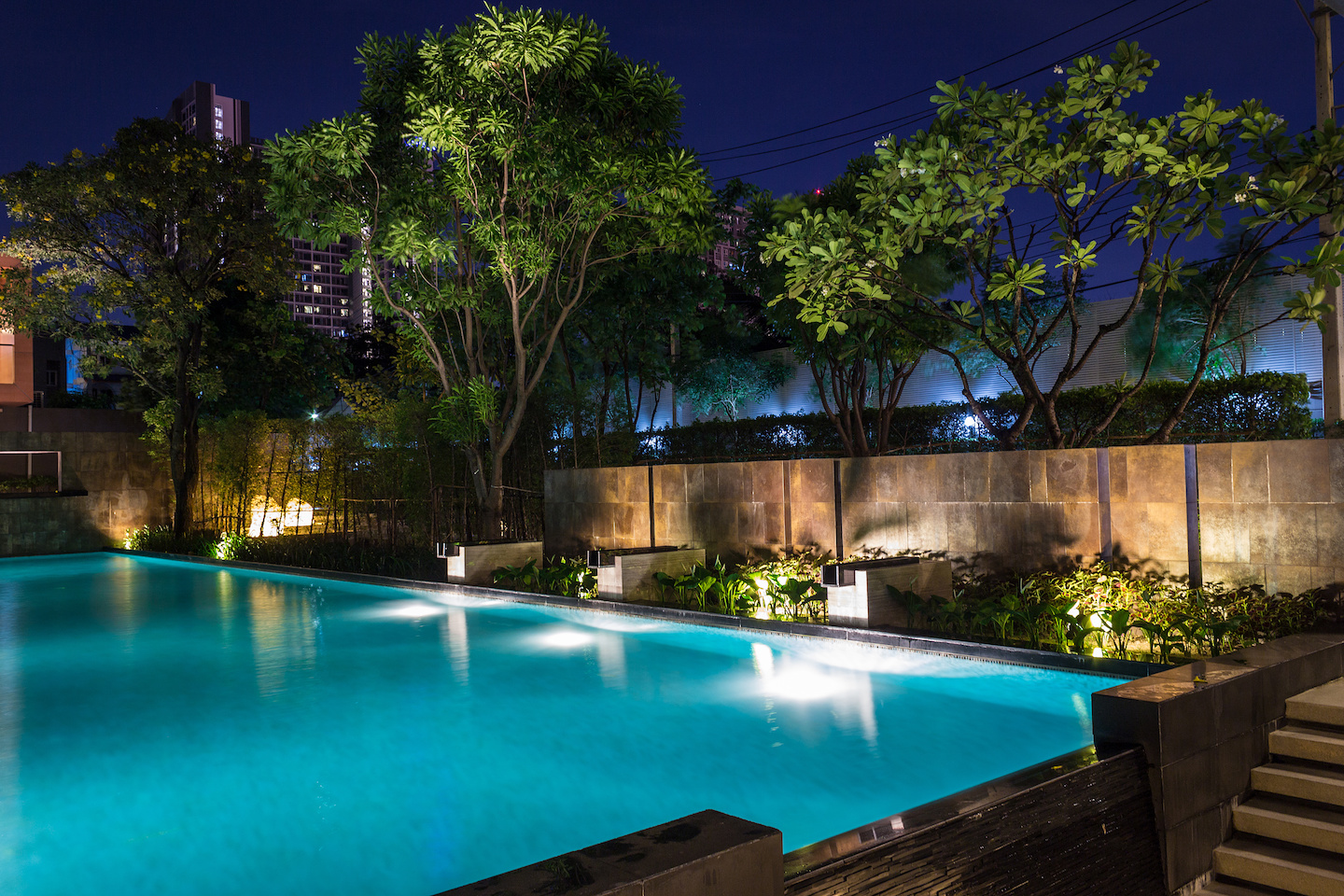 Garden Lighting integrated with Swimming pool landscaping design.