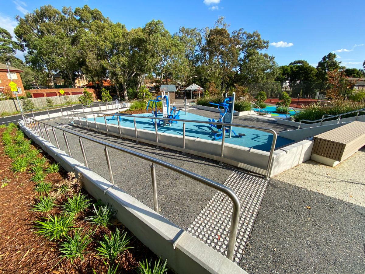 Commercial landscaping with gum trees