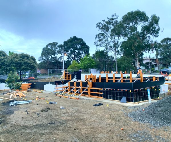 Formwork in place for architectural concrete pours