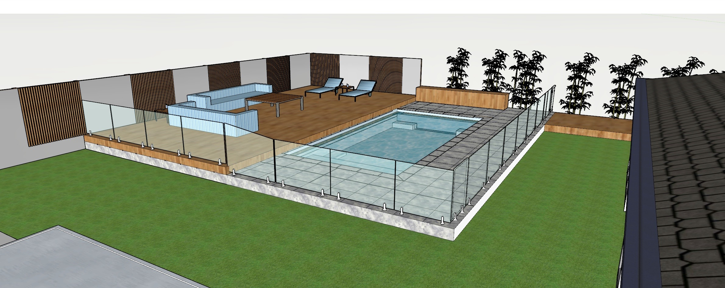 Sketchup 3D design of a swimming pool