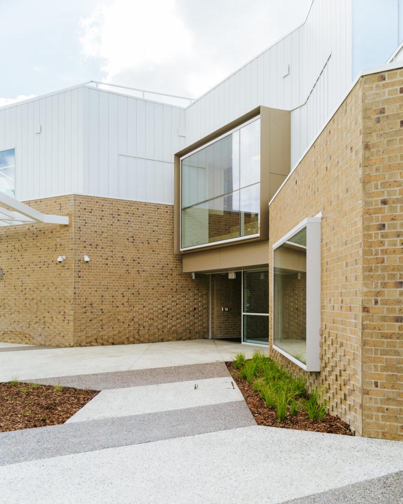 Entrance and Alternating decorative finish concrete path