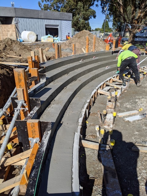 In-situ concrete curved seating part of our commercial concrete construction Melbourne portfolio.