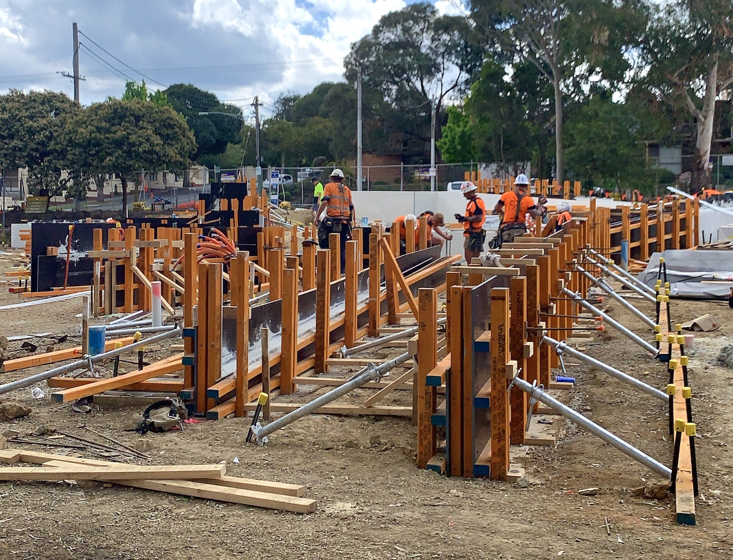 Accurately positioned formwork under construction.