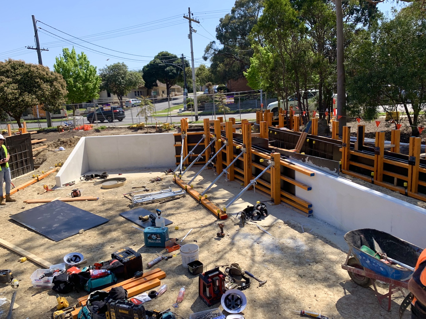 Commercial Concreting Melbourne at our Balwyn North Construction site. Stripping the formwork after the concrete pour