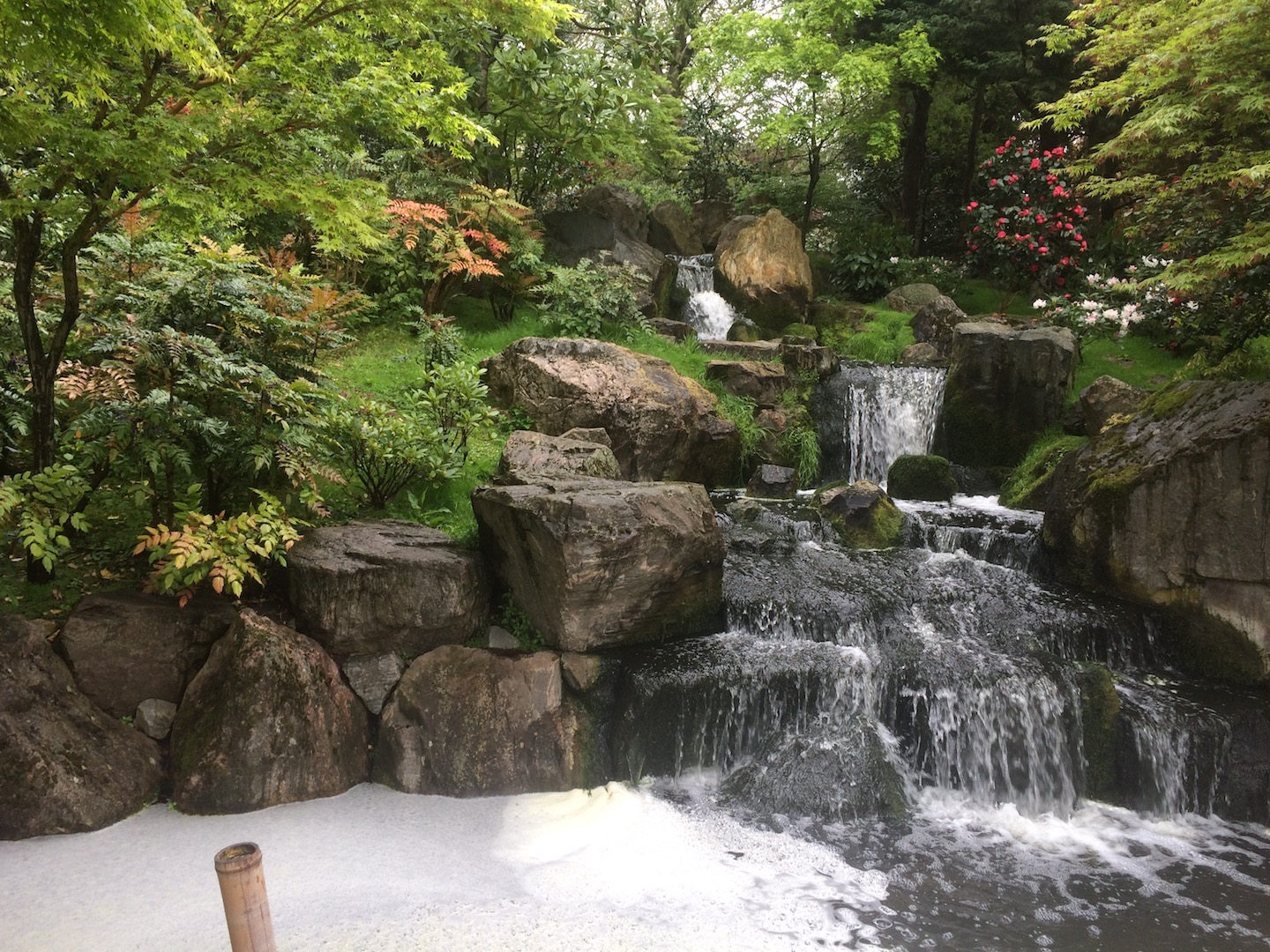 A 3 tiered stone waterfall descends into a garden pond of Koi fish.
