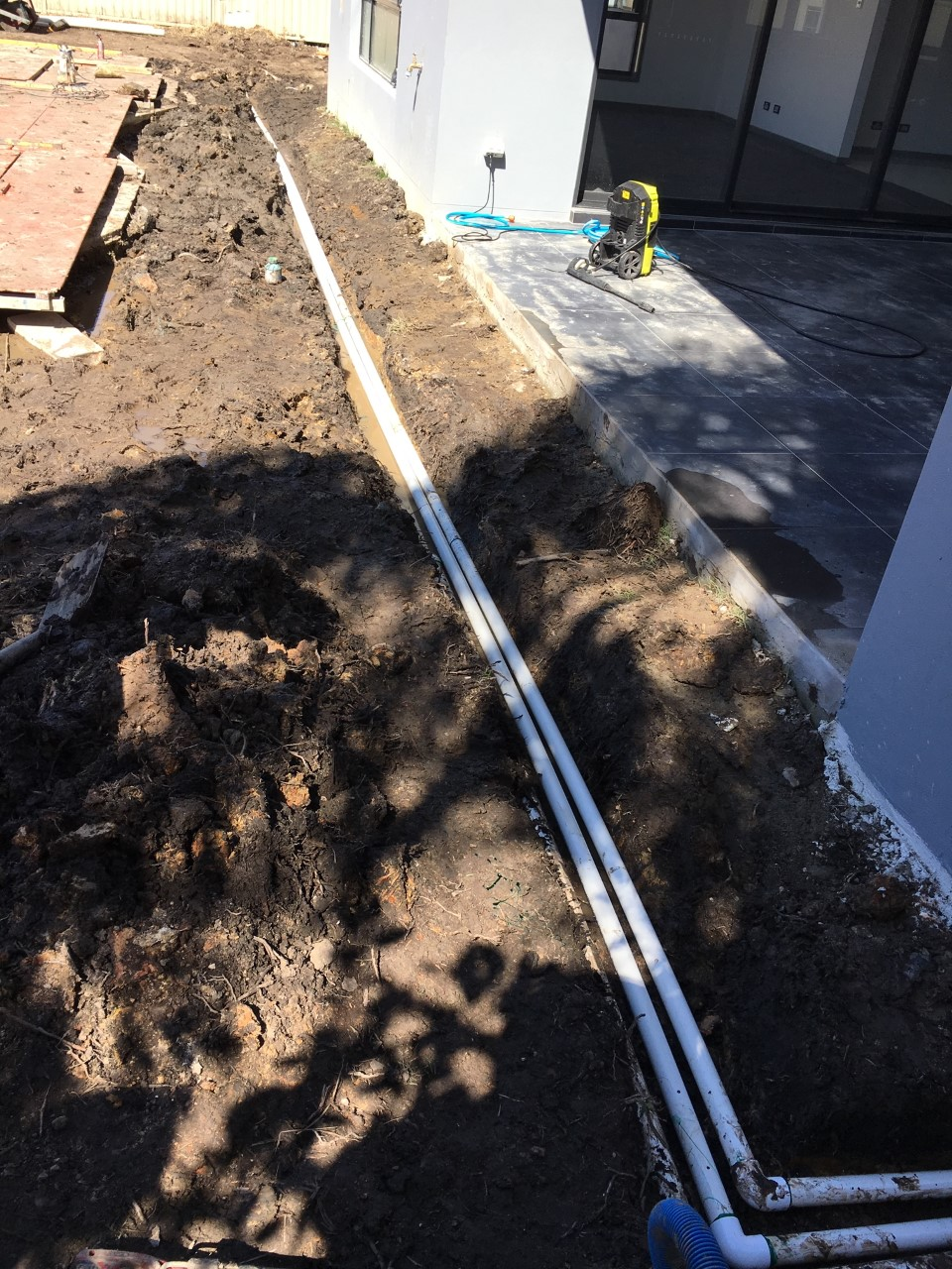 New Home Construction Landscaping. Install conduits below any future driveways or paths.