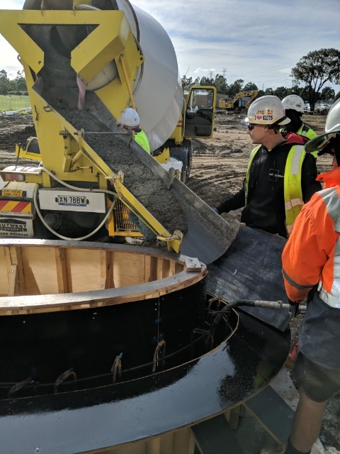 Concreting Melbourne Landscaper - Concrete pour into formwork Mill Park Leisure Centre