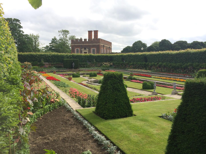 Hampton Court Palace garden parterre formal gardens.