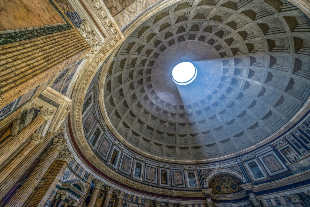 Concrete Dome of the Pantheon in Rome.