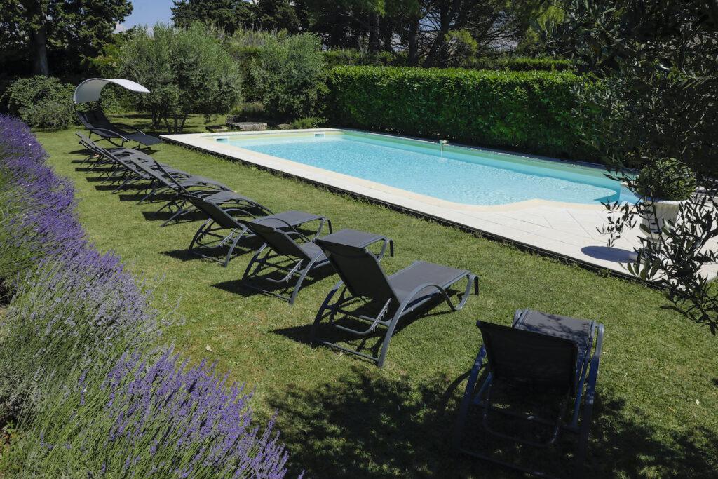 Lavender border opposite a swimming pool