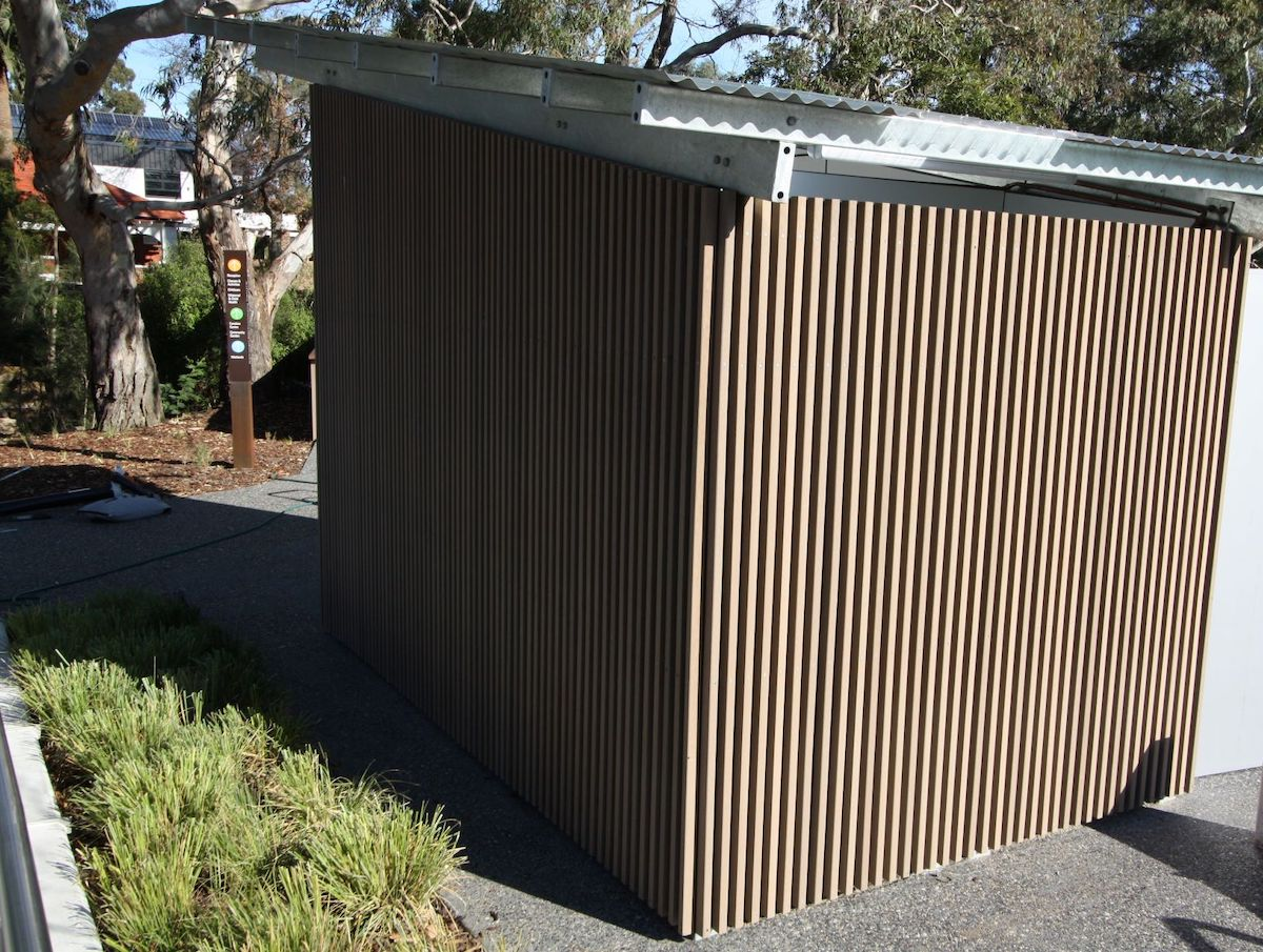Recycled Enviroslat Cladding on a shed at Balwyn Community Centre.