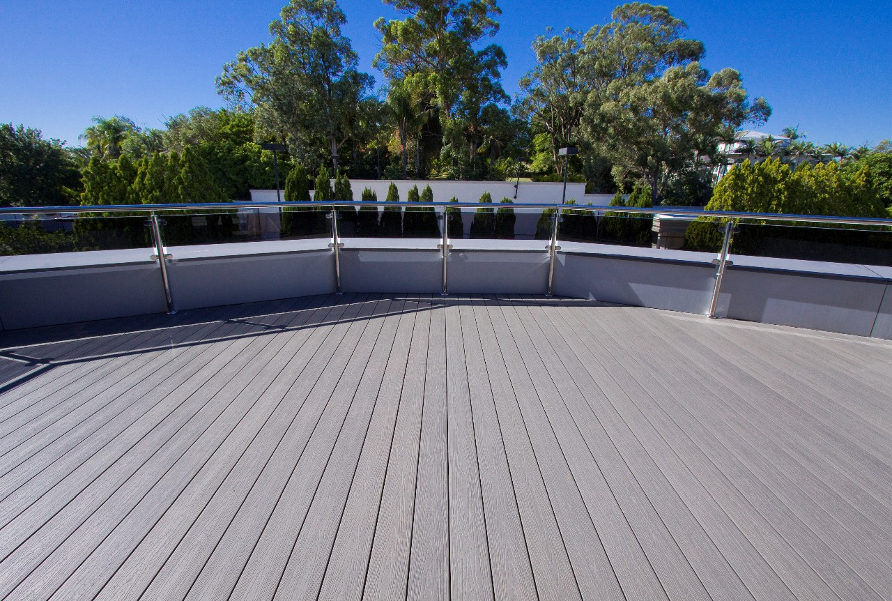 Recycled plastic composite decking looks like real wood.