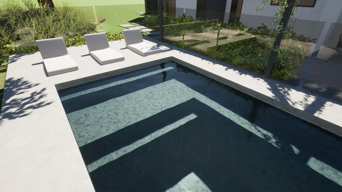 Swimming pool bench