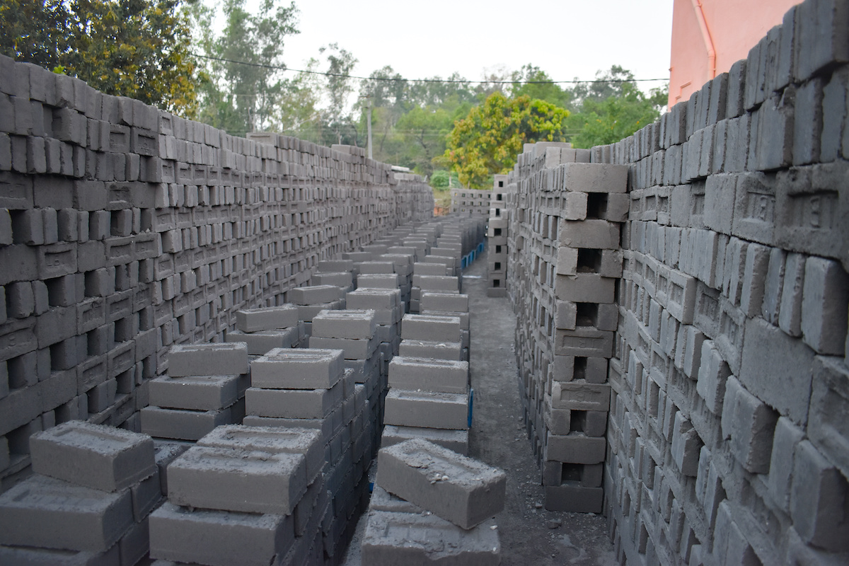Eco friendly fly ash blocks are made from power station waste.