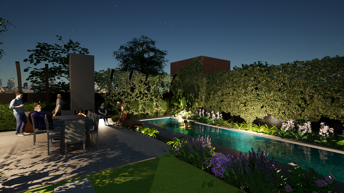 Landscaping and Pool design package. Checking the garden lighting.