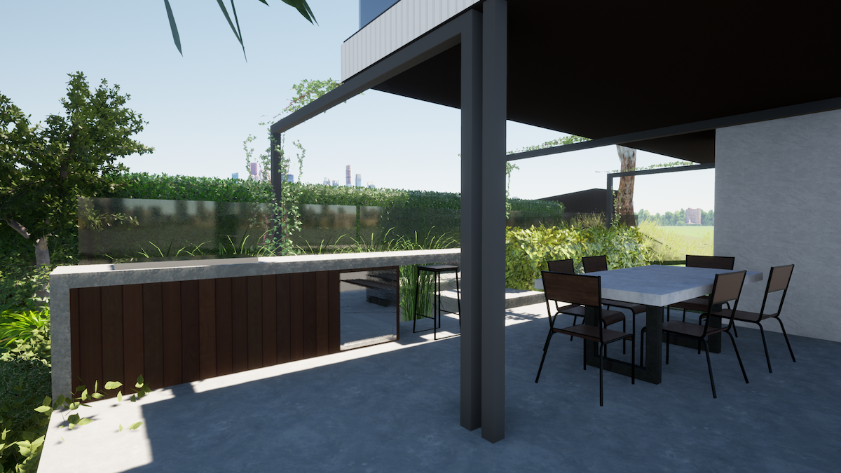 Shade over the outdoor entertaining area.