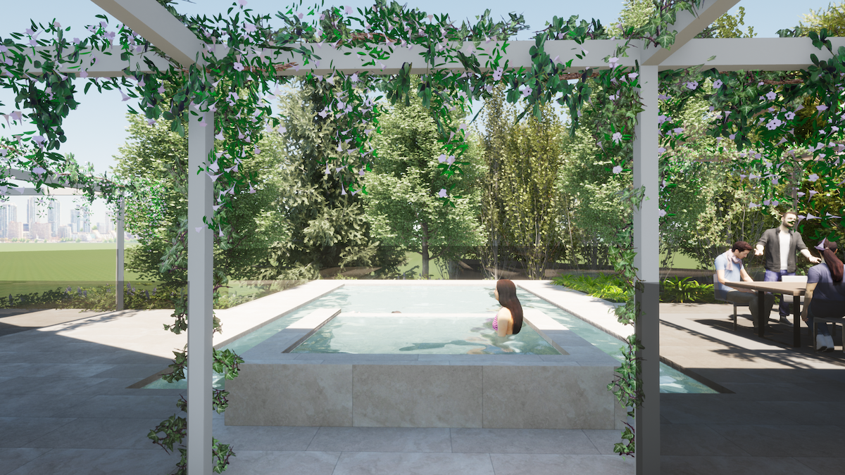 pool and landscaping design. The view from the pergola.