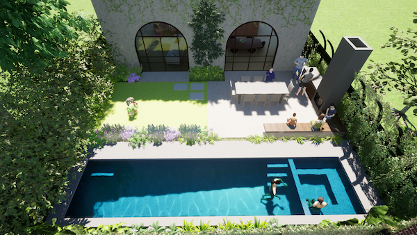 Aerial view of the Lap Pool using 3D CAD