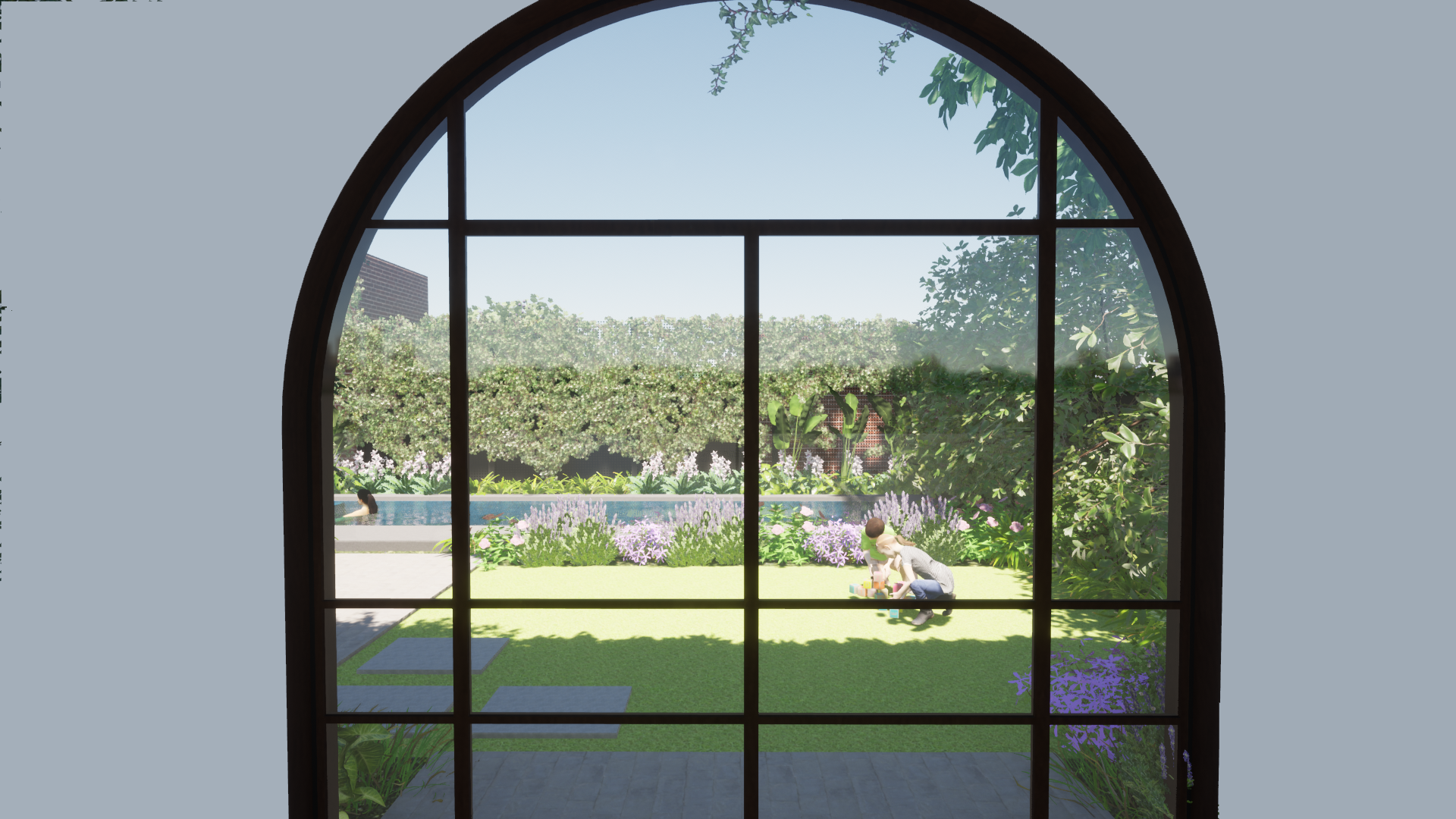 Pool and Landscape viewed through the window of the home.