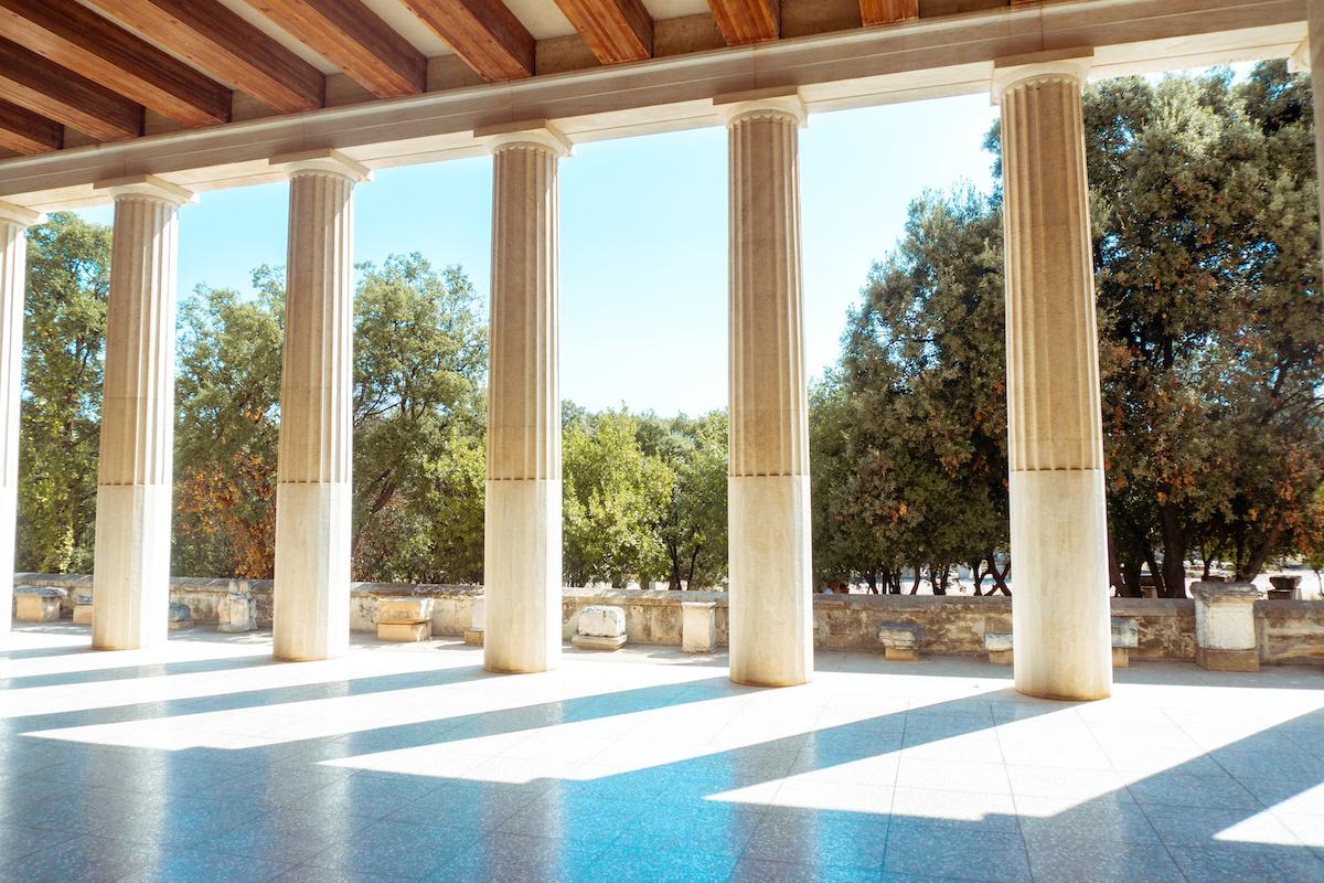 Greek doric columns, and gardens