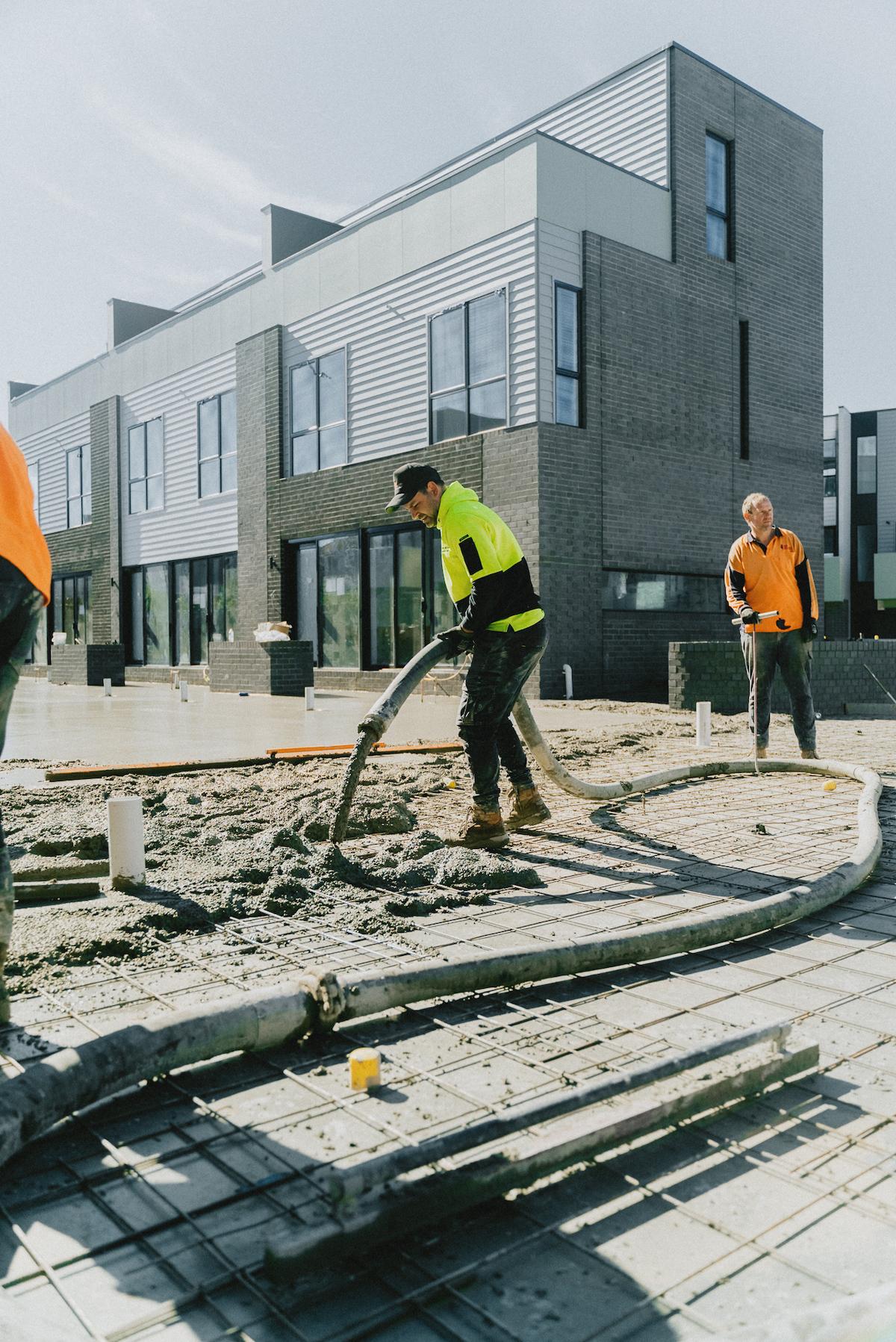 pouring concrete roads
